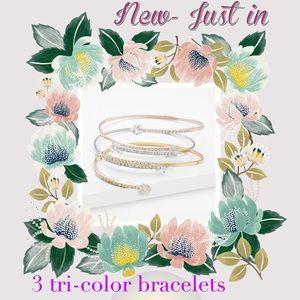 New 3 tri color bracelets
